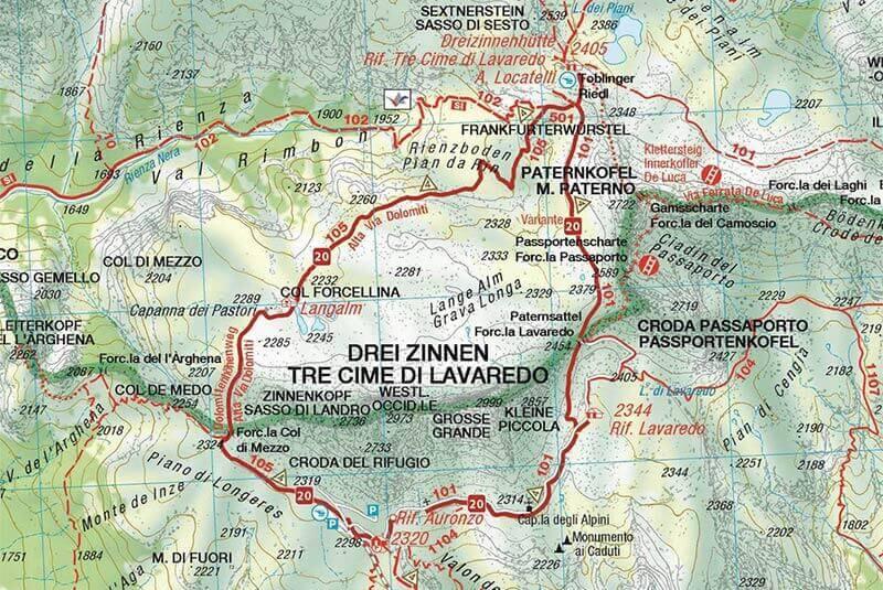Rundwanderung Um Die Drei Zinnen Karte Wegbeschreibung Berghotel